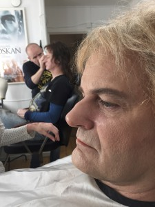 The lead actors Robert Gustafsson and Johan Rheborg in the makeup room on day 1.